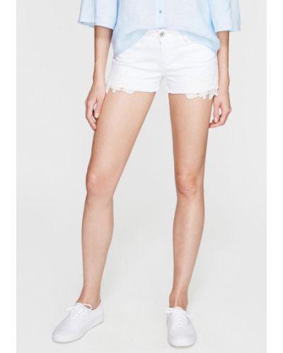 Кружевные хлопковые белые джинсовые шорты Mavi
