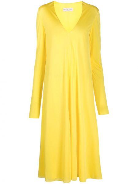 С рукавами желтое платье миди с вырезом Emilio Pucci