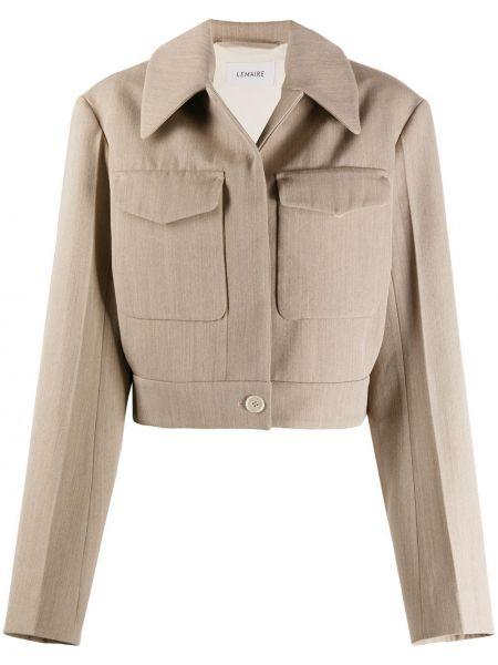 Beżowy klasyczna koszula z kołnierzem z kieszeniami z wiskozy Lemaire