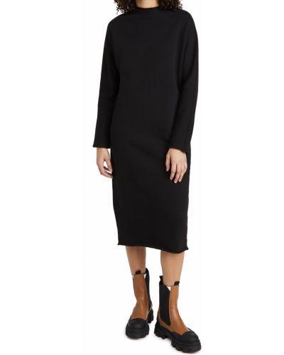 Хлопковое черное платье макси с длинными рукавами Frank & Eileen