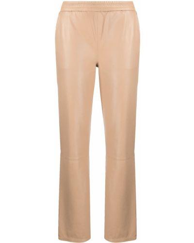 Прямые коричневые кожаные брюки Arma