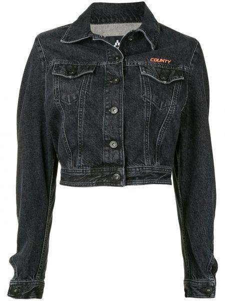 Серая джинсовая куртка с вышивкой с манжетами с воротником Marcelo Burlon. County Of Milan