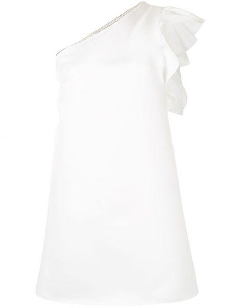 Белое платье мини на одно плечо с оборками Jay Godfrey