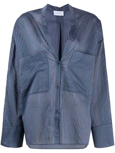 Синяя шелковая блузка с вырезом Christian Wijnants