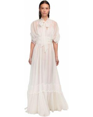 Приталенное ажурное шифоновое платье макси Luisa Beccaria