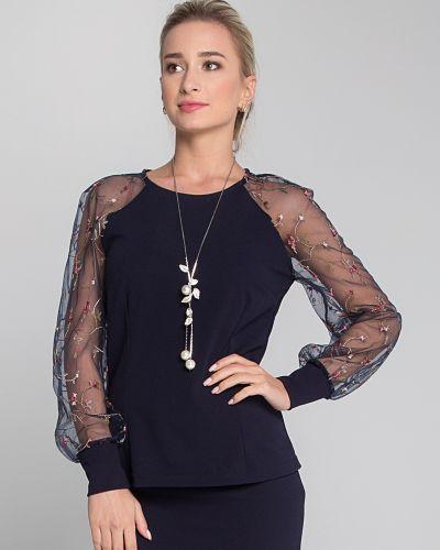 Приталенная кружевная блузка с длинным рукавом с сеткой с рукавом реглан Sezoni
