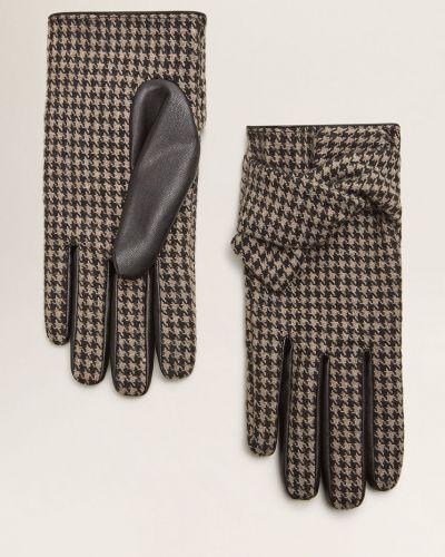 Кожаные перчатки текстильные шерстяные Mango