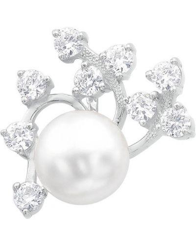 Серебряная подвеска с жемчугом с камнями De Fleur