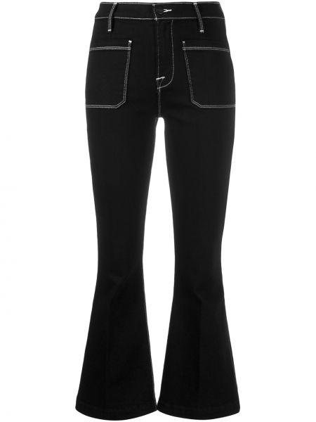 Укороченные джинсы расклешенные черные Frame