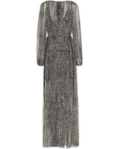 Однобортное шифоновое тонкое платье макси золотое Stella Mccartney