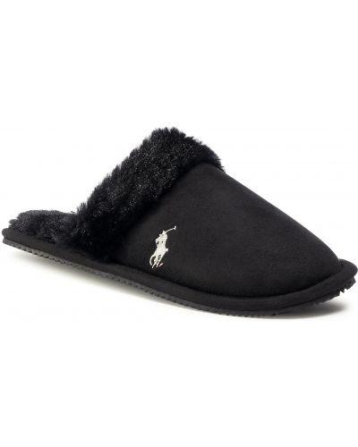 Kapcie z futerkiem - czarne Polo Ralph Lauren