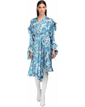 Satynowa niebieska sukienka midi asymetryczna Balenciaga