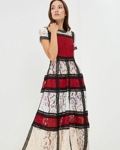 Вечернее платье осеннее красный Paccio