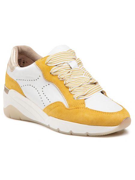 Sneakersy na koturnie skorzane - białe Jana