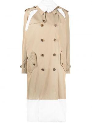Klasyczny beżowy długi płaszcz bawełniany Junya Watanabe