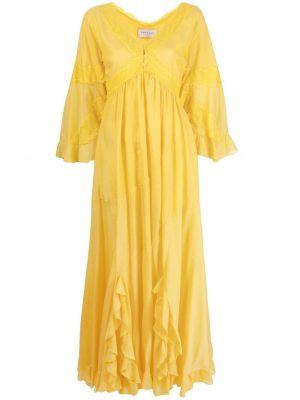 Желтое шелковое кружевное платье макси Ermanno Scervino