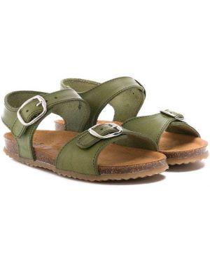 Открытые кожаные зеленые сандалии с открытым носком Pépé Kids