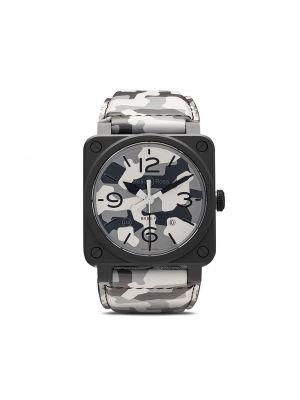 Czarny zegarek na skórzanym pasku skórzany szafir Bell & Ross