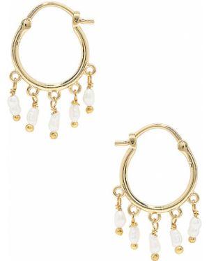 Złote kolczyki sztyfty perły pozłacane Gorjana