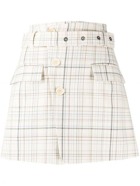 Ватная белая шерстяная юбка мини с поясом Mrz
