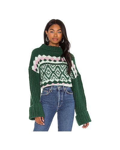 С рукавами зеленый вязаный длинный свитер Free People