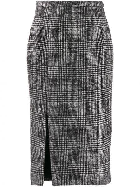 Шерстяная черная с завышенной талией юбка карандаш Rochas