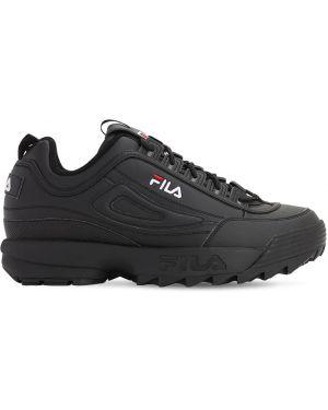 Czarne sneakersy skorzane sznurowane Fila Urban