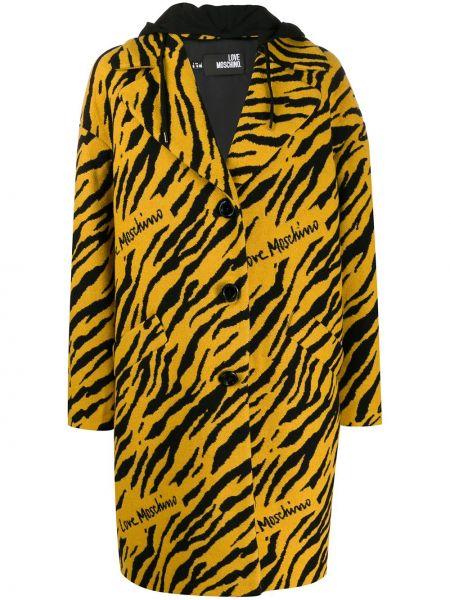 Пальто с капюшоном длинное на кнопках Love Moschino