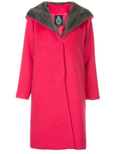 Розовое шерстяное длинное пальто с капюшоном Guild Prime