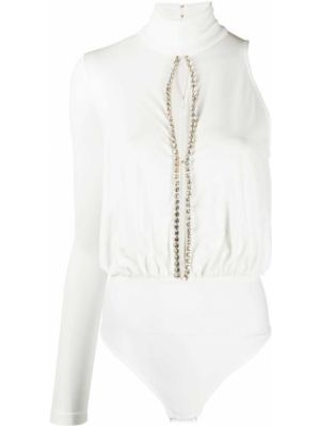 Приталенное белое боди с длинными рукавами на кнопках из вискозы Elisabetta Franchi