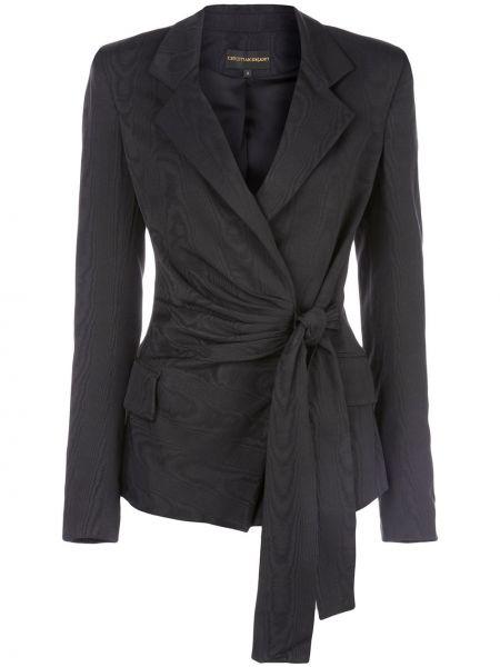 С рукавами шелковая черная куртка с запахом Christian Siriano
