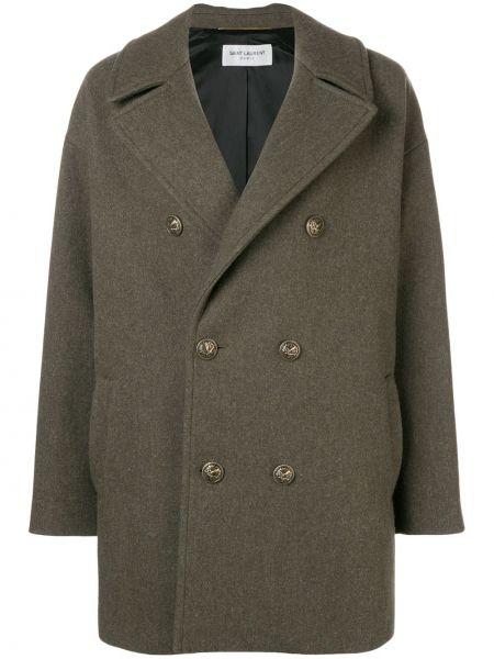 Пальто классическое зеленое милитари Saint Laurent