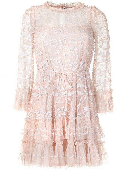 Розовое платье макси с вырезом с длинными рукавами Needle & Thread