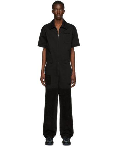 Bawełna bawełna czarny krótki kombinezon z kieszeniami Fendi