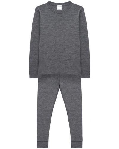 Ватный серый шерстяной костюм Wool&cotton