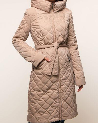 Прямое бежевое пальто с капюшоном Dizzyway