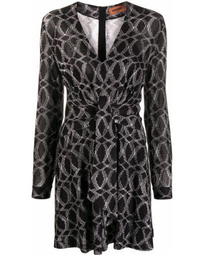 Шелковое черное платье мини с вырезом Missoni