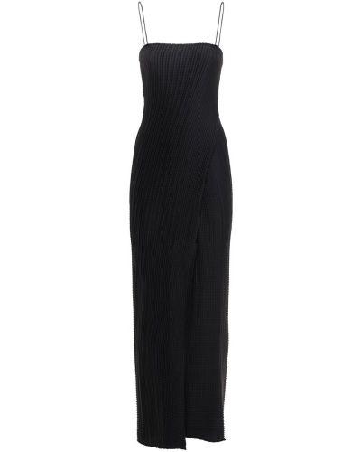 Satynowa czarna sukienka midi Sandra Mansour