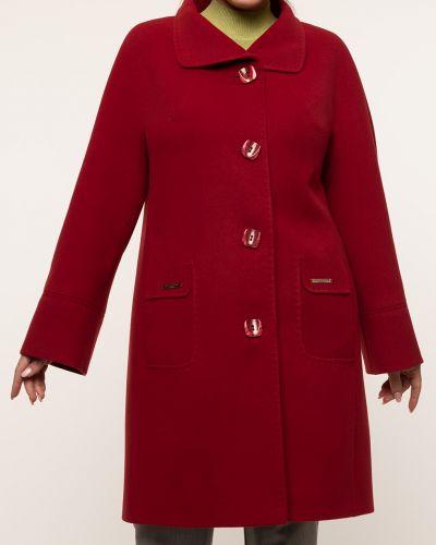 Красное драповое пальто с воротником каляев
