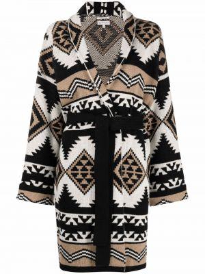 Черное пальто жаккардовое Woolrich