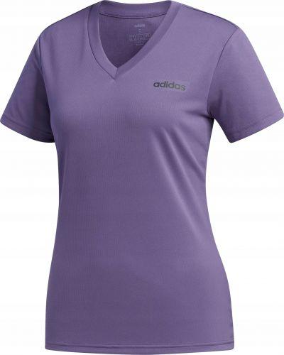 Fioletowy t-shirt z dekoltem Adidas