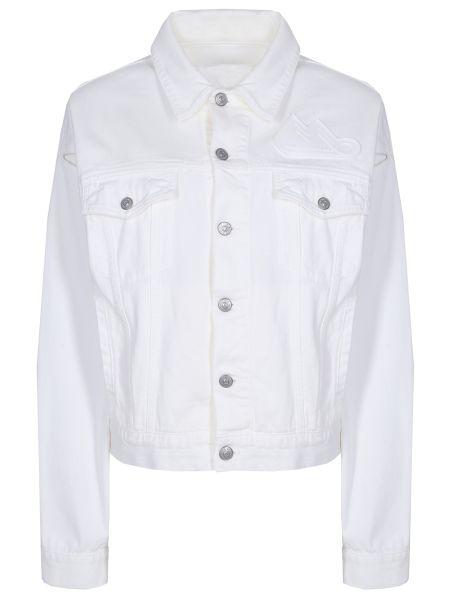 Белая джинсовая куртка с манжетами с поясом с воротником Mm6