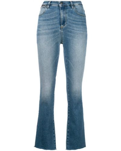 Укороченные джинсы расклешенные синие Acynetic