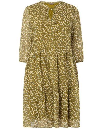 Zielona sukienka rozkloszowana z falbanami Samoon