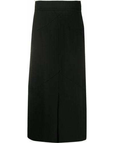 Черная с завышенной талией юбка миди на молнии с разрезом Isabel Marant