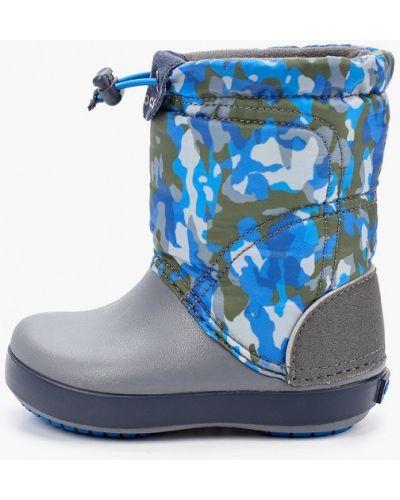 Текстильные синие дутики Crocs