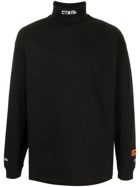 Bawełna z rękawami czarny koszula Heron Preston