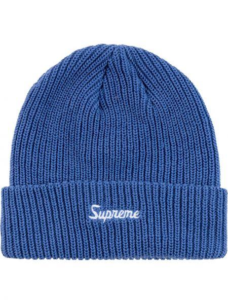 Niebieska czapka z haftem Supreme