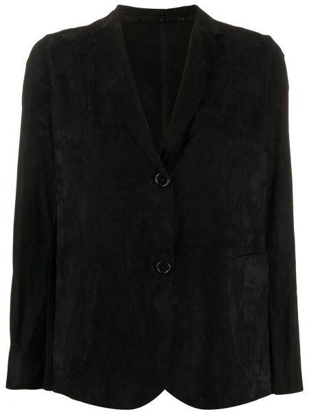 Черный кожаный пиджак на пуговицах Salvatore Santoro