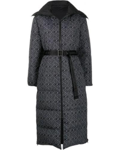 Czarny długi płaszcz z kapturem casual Karl Lagerfeld